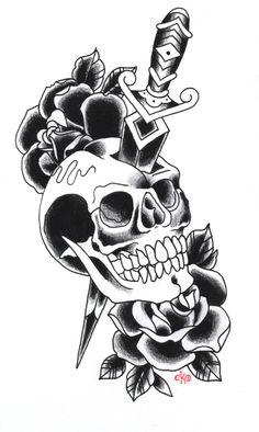 34 Trendy Tattoo Old School Schädel Schwarz Tat vishnu Arrow Tattoos, Skull Tattoos, Dog Tattoos, Cat Tattoo, Body Art Tattoos, Lion Tattoo, Traditional Tattoo Skull, Traditional Dagger, Traditional Styles