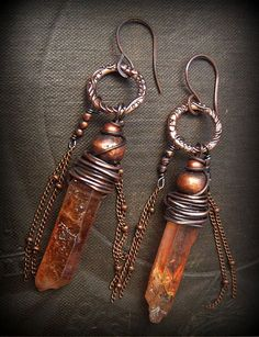 Mystic Quartz Slabs and Copper Hoop Beaded Earrings by yuccabloom, $48.00