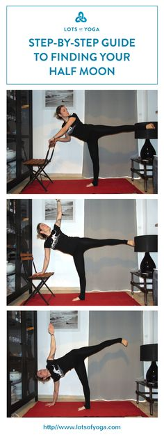 Easy step-by-step guide in finding your first half-moon pose (half moon modifications).