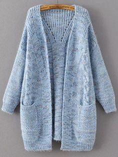 Shop Blue Marled Knit Long Sweater Coat With Pocket online. SheIn offers  Blue Marled Knit a0e734755