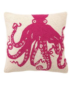 Fuchsia Octopus Hook Throw Pillow by Peking Handicraft #zulily #zulilyfinds