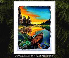 Dark Mountains, Lake Art, Rustic Wall Art, Mountain Art, Bear Art, Moon Art, Photo Art, Original Artwork, Canvas Art