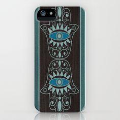 Aqua Double Denim Hamsas iPhone & iPod Case by Nina May  - $35.00