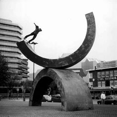 Skater skating a half-pipe sculpture | Murray Mitchell