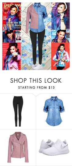 """""""Demi Lovato~Seventeen Magazine August 2014"""" by tvshowobsessed ❤ liked on Polyvore featuring Topshop, True Religion and NIKE"""