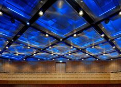 Metal mesh acoustical ceilings, Dusseldorf Concert Hall.  HPP Architects.