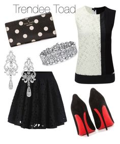 """Black & White with a little Bling"" by trendytoad on Polyvore featuring Joseph, Christian Louboutin, Kate Spade, Wrapped In Love and Palm Beach Jewelry"