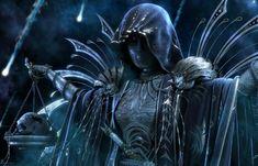 Zodiac ~ Libra - black, armor, creature, blue, art, skull, zodiac, dark, libra, metal, red eyes, fantasy, balazs papay
