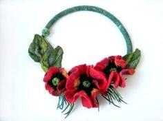 A felt necklace Poppies by Radlana on Etsy,