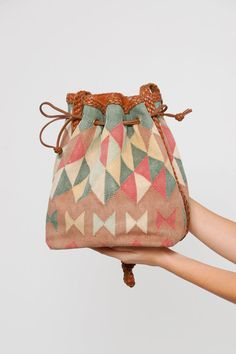 Vintage 80s KILIM Bag LEATHER Bucket Bag ETHNIC Woven Carpet Bag  by LotusvintageNY