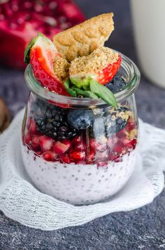 Enjoy this creamy Greek Yogurt Chia Pudding with pomegranates and fresh berries This is one breakfast you won't want to live without!