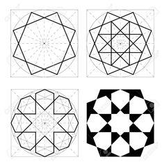 Geometric Drawing, Geometric Shapes, Geometric Patterns, Pattern Drawing, Pattern Art, Arabian Pattern, Turkish Pattern, Islamic Art Pattern, Origami Paper Art