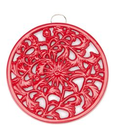 Look at this Red Floral Round Trivet on #zulily today!