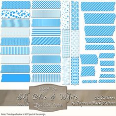 360 pieces of blue & white digital tape (24 patterns in 15 different sizes) Files are PNG with a transparent background.  The tapes are great for blogging, scrapbooks, cards, invitations, and more... $4.75 #digital, #tape, #washi, #patterns, #chevron, #checks, #stripes, #polka dots, #damask, #Moroccan, #argyle, #blue, #white, #scrapbooking, #cards