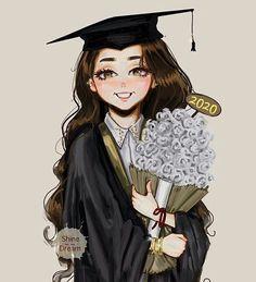 Scroll and Roses – Customizable Graduation Gift Fashion Illustration Art Print – Art World 20 Graduation Picture Poses, Graduation Pictures, Girl Cartoon, Cartoon Art, Graduation Drawing, Graduation Diy, Girly M, Cute Girl Drawing, Girly Drawings
