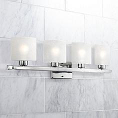 Favorite Possini Euro White Linen Gl Chrome 32 Wide Bath Light