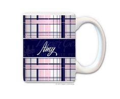 Navy/Baby Pink Plaid Personalized Coffee Mug from Paper Concierge