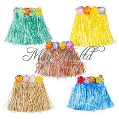 Children Hawaiian Grass Luau Skirt Flowers Weddings Party Beach Costume Hot W #UNBrand