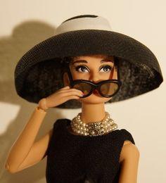 OOAK MAttel BAT Barbie doll repaint as Audrey Hepburn Holly Golightly by Lulemee
