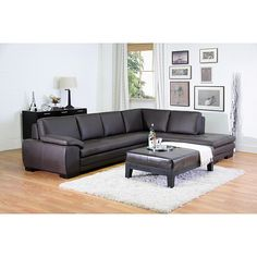 This L-shaped leather sectional sofa set provides a sophisticated seating area for your modern living space. Comprising a sofa and a chaise, the set is made from luxurious brown leather, providing total comfort thanks to a rubber lattice support system.