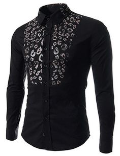 (CE88-BLACK) Slim Fit Stretchy Leopard Print Patched Long Sleeve Shirts