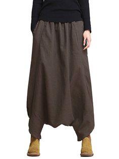 Loose Women Solid Elastic Waist Pockets Harem Pants  - Newchic Mobile version.