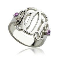 Birthstone Monogram Rings For Women Sterling Silver
