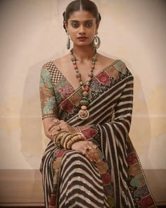 2019 Sabyasachi Charbagh Bridal Lehenga collection has a bunch of traditional red wedding lehengas, some gorgeous destination wedding outfits + lots more. Sabyasachi Sarees, Georgette Sarees, Indian Sarees, Net Saree, Indian Gowns, Chiffon Saree, Silk Sarees, Designer Sarees Wedding, Saree Wedding