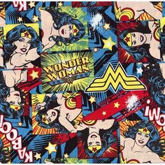 Wonder Woman Cotton Fabric For Children and Girls - Sparkly Fabric