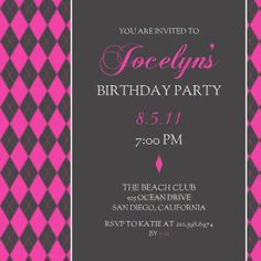Mixbook Hot Pink Argyle Girls Birthday Party Invitations