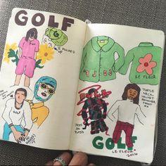 Tyler, The Creator's Drawings 2016 - Davis Love - Tiger Woods - Don Donatello - Golf PGA Art Journal Inspiration, Art Inspo, Journal Ideas, Revolver, Flower Boys, Golf Fashion, Women's Fashion, Wall Collage, Aesthetic Wallpapers