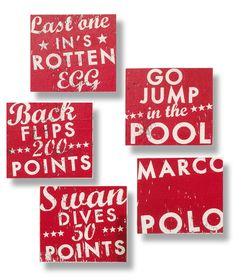 Set+of+5+summer+POOL+signs+in+any+color+7+x+8+by+GoJumpInTheLake,+$45.00