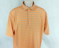 PETER MILLAR Summer Comfort Golf Polo Shirt Men Size L Orange Blue Striped #PeterMillar #PoloRugby