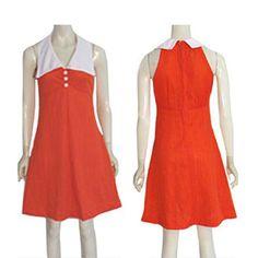1970s  Empire V Neck Vintage Red Orange Textured Dress #Unbranded