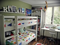 Shelf above bunk bed for boys room for books, teddies. Also like setup with bunks, bookcase, & desk if desks do not fit side by side
