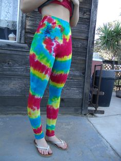 Upcycled Tie Dyed Extra Long Leggings Size Small by lottisunshyne, $18.00
