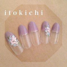 花柄ネイルシリーズ❀あじさいネイル50選&紫陽花ネイルやり方動画❀ | Jocee