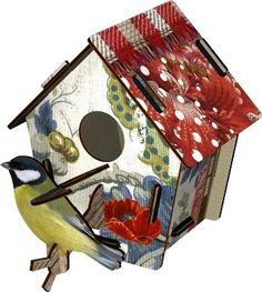 Decoratief vogelhuisje met vogel uit bouwpakket van cardboard gemaakt | Living Roots