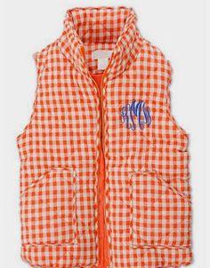 Clemson Girl - Orange and purple vests for #gameday #clemsongirl #clemson #monogram