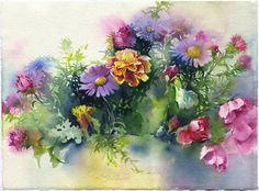 Autumn flowers watercolor painting print - camomile, asters, roses on paper