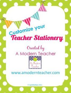 teacher stationery and notecards, lime green polka dots, editable, good when you need something in a hurry, $