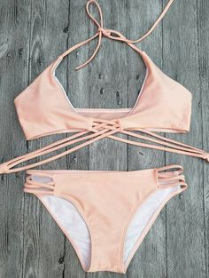 $10.94 Halter Cutout Lace-Up Strappy Bikini Set