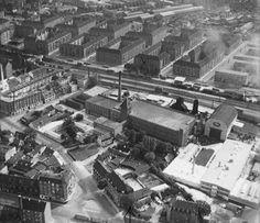Spinderikvarteret omkring 1960. Lys, luft og Børnehaven Spindegården.