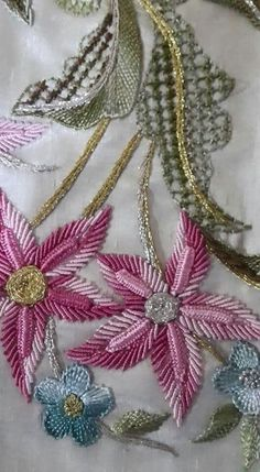 This post was discovered by Üm The Latest Trend in Embroidery – Embroidery on Paper - Embroidery Patterns Zardozi Embroidery, Hand Embroidery Flowers, Paper Embroidery, Crewel Embroidery, Floral Embroidery, Brazilian Embroidery Stitches, Hand Embroidery Stitches, Hand Embroidery Designs, Embroidery Techniques