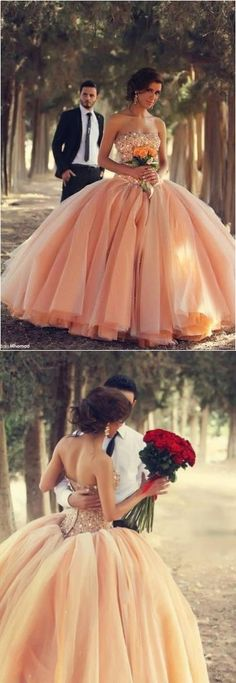 Pink 2015 Ball Gown Wedding Dress, Gorgeous!!! But I'd rather have it in white or cream