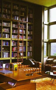 source: the-reading-nook@tumblr *I do not own this photo* Cool library. I like that couch also.