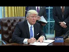 President Trump signs order withdrawing U.S. from TPP (C-SPAN) - YouTube