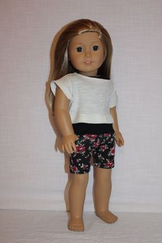 3 piece set!!! black tank top, slub knit ivory off the shoulder tee and  floral stretchy shorts with pockets, 18 inch doll clothes by magoogesmusedesigns on Etsy