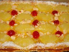O Cantinho da Marta: Tarte Folhada de Ananás e Amêndoa Macaroni And Cheese, Deserts, Peach, Pudding, Sweets, Candy, Baking, Ethnic Recipes, Portuguese