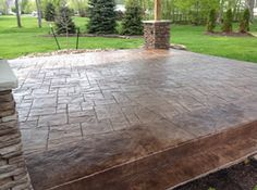 Real Help Custom Concrete Company of Buffalo and Western New York is local, licensed, and insured. View our stamped concrete gallery! Poured Concrete Patio, Concrete Garden, Stamped Concrete, Backyard Patio, Buffalo, Rustic, House, Ideas, Country Primitive